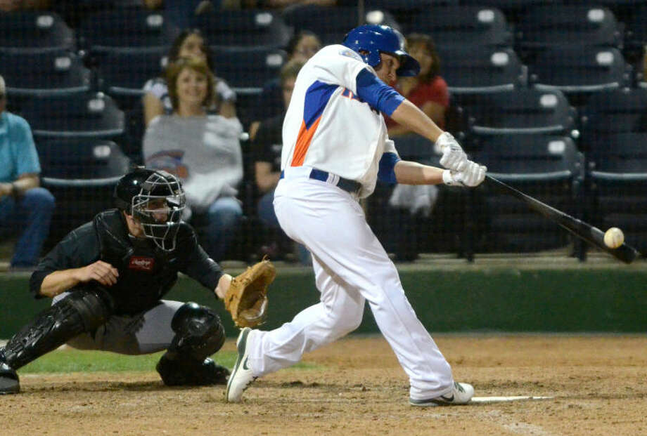 RockHounds' Chad Oberacker hits against San Antonio Missions Friday at Citibank Ballpark. James Durbin/Reporter-Telegram Photo: JAMES DURBIN