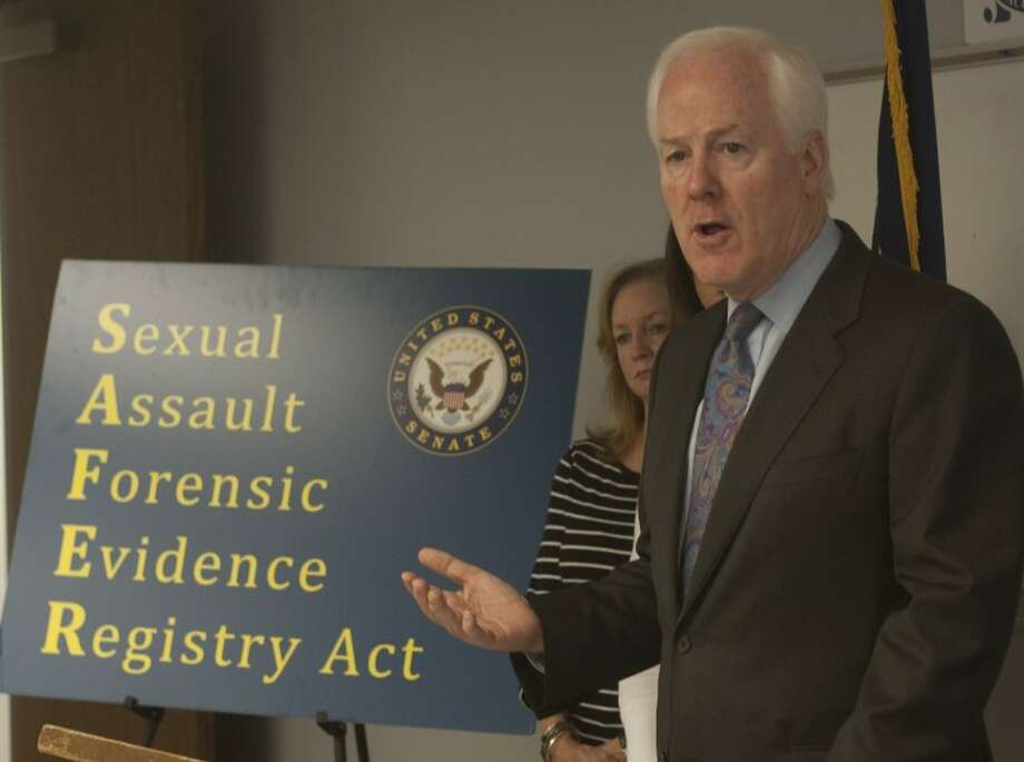 Senator John Cornyn talks about legislation SAFER Act to increase grant money for rape test kits during a press conference at MPD Wednesday afternoon. Tim Fischer\Reporter-Telegram Photo: Tim Fischer