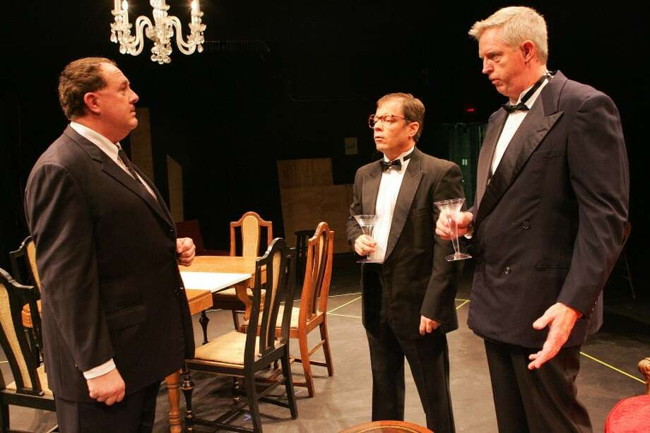 "Andre Bouville (Andy Salcedo) meets Albert Donay (Joe Thomason) and Claude Pichon (Paul Mangum) for the first time during a scene from ""The Dinner Party"" at the Cole Theatre. Cindeka Nealy/Reporter-Telegram Photo: Cindeka Nealy"