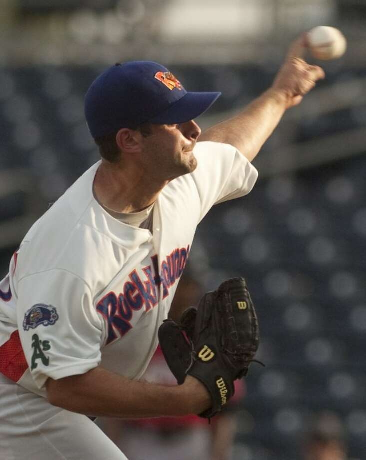 RockHounds' pitcher Anthony Capra delivers Monday night against the Frisco RoughRiders. Photo by Tim Fischer/Midland Reporter-Telegram Photo: Tim Fischer