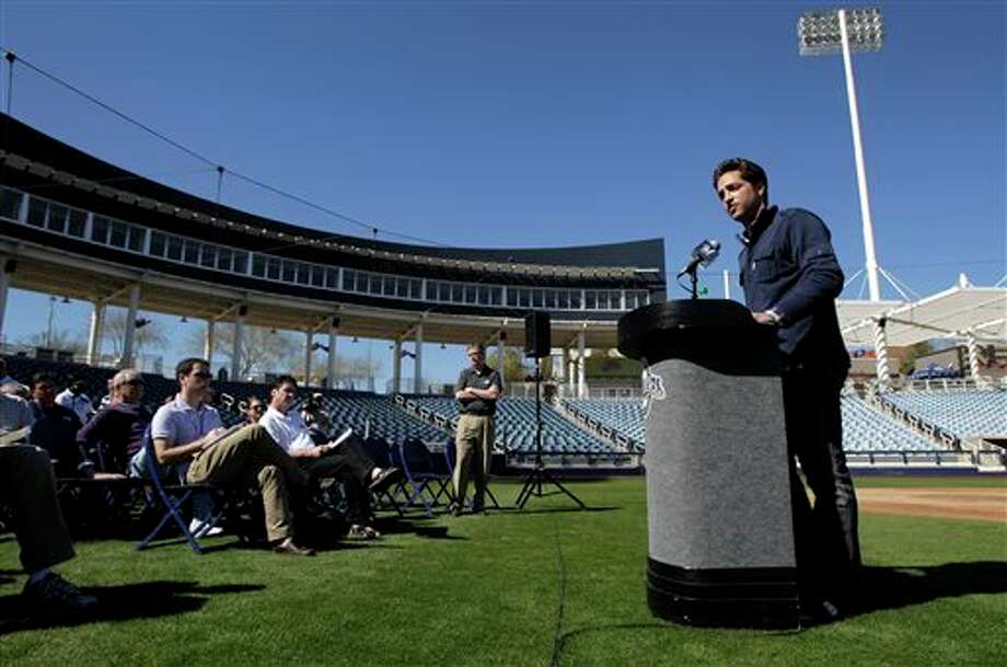 "FILE - In this Feb. 24, 2012 file photo, Milwaukee Brewers' Ryan Braun, right, speaks during a news conference at spring training baseball, in Phoenix. Braun stood on a spring training field and proclaimed he was innocent of using banned testosterone. ""I would bet my life,"" he said back then, ""that this substance never entered my body at any point."" Seventeen months later, he accepted a 65-game suspension from baseball and admitted, ""I am not perfect. (AP Photo/Jae C. Hong, File) Photo: Jae C. Hong / AP"