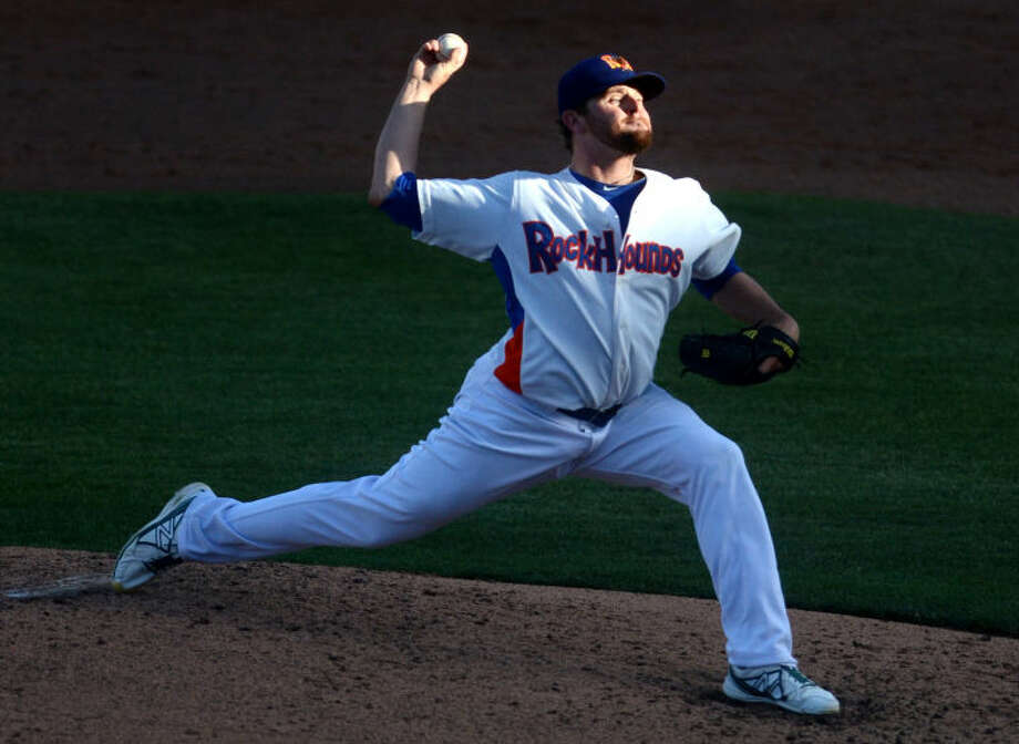 Rockhounds pitcher Zach Neal throws against the Tulsa Drillers Wednesday at Citibank Ballpark. James Durbin/Reporter-Telegram Photo: JAMES DURBIN