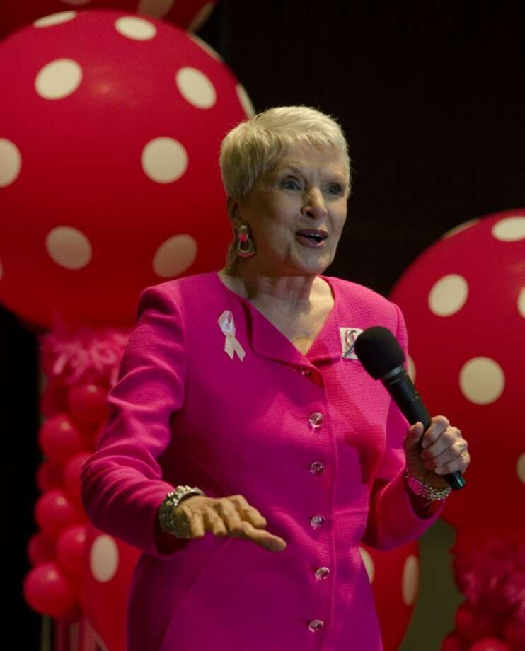 Comedienne and guest speaker Jeanne Robertson speaks and performs Tuesday at the annual Pink the Basin luncheon. Tim Fischer\Reporter-Telegram Photo: Tim Fischer