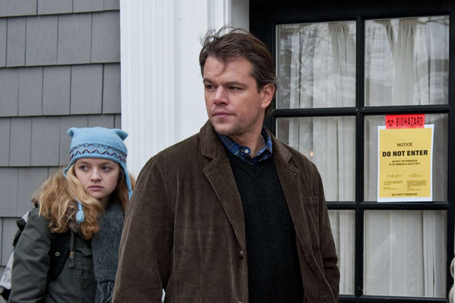 "In this image released by Warner Bros. Pictures, Anna Jacoby-Heron, left, and Matt Damon are shown in a scene from the film ""Contagion."" Photo: (AP Photo/Warner Bros. Pictures, Claudette Barius) / ©2011 Warner Bros. Entertainment Inc."