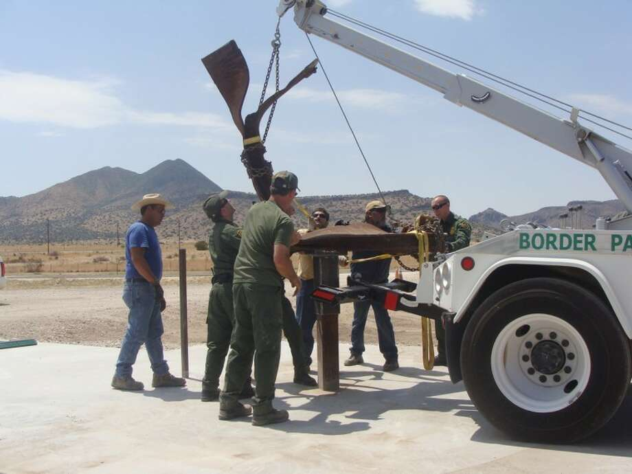 This twisted steel beam from the World Trade Center wreckage of Sept.11, 2001, was incorporated into a memorial at the Alpine Border Patrol Station. The memorial will be dedicated at 2 p.m. Sunday. Border Patrol agents, Marfa Sector employees and retired agents constructed the memorial.  Photo: Courtesy U.S. Border Patrol