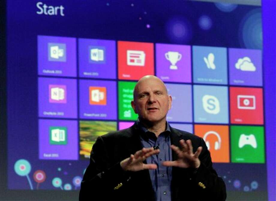 Microsoft CEO Steve Ballmer gives his presentation at the launch of Microsoft Windows 8, in New York, Thursday, Oct. 25, 2012. Windows 8 is the most dramatic overhaul of the personal computer market's dominant operating system in 17 years. (AP Photo/Richard Drew) Photo: Richard Drew / AP