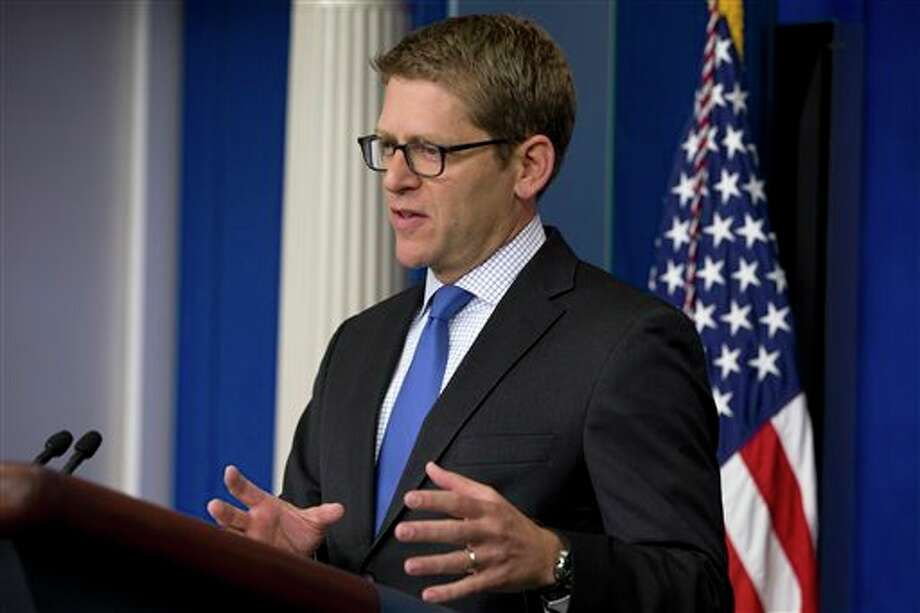 White House press secretary Jay Carney answers questions about Syria and chemical weapons during his daily news briefing at the White House in Washington, Tuesday, Aug. 27, 2013. The U.S. was expected to make public a more formal determination of chemical weapons use on Tuesday, however Carney stated that the president did not have a decision made about the response to announce at this time. (AP Photo/Jacquelyn Martin) Photo: Jacquelyn Martin / AP