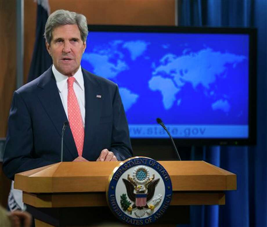 Secretary of State John Kerry speaks at the State Department in Washington, Monday, Aug. 26, 2013, about the situation in Syria. Kerry said chemical weapons were used in Syria, and accused Assad of destroying evidence. (AP Photo/Manuel Balce Ceneta) Photo: Manuel Balce Ceneta / AP