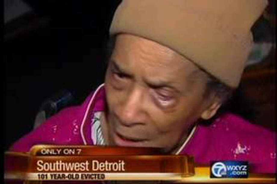 This video television frame grab provided by WXYZ.com shows Texana Hollis of Detroit. Hollis, A 101-year-old woman, was evicted from the southwest Detroit home where she lived for nearly six decades after her 65-year-old son failed to pay the mortgage. Texana Hollis was evicted Monday, Sept. 12, 2011 and her belongings were placed outside the home. Her son, Warren Hollis, said he didn't pay the bill for several years and disregarded eviction notices. (AP Photo/WXYZ.com) MANDATORY CREDIT Photo: HOEP / WXYZ.com