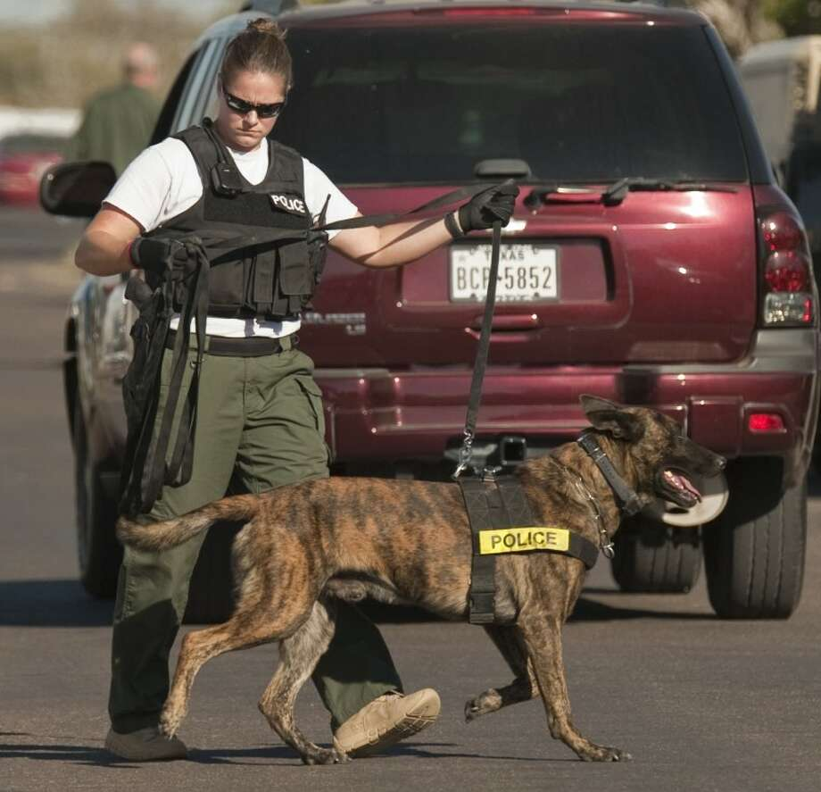 Midland police bring in a K-9 unit to help investigate a robbery/shooting Tuesday afternoon at the residence 3119 Roosevelt Ave. Tim Fischer\Reporter-Telegram Photo: Tim Fischer