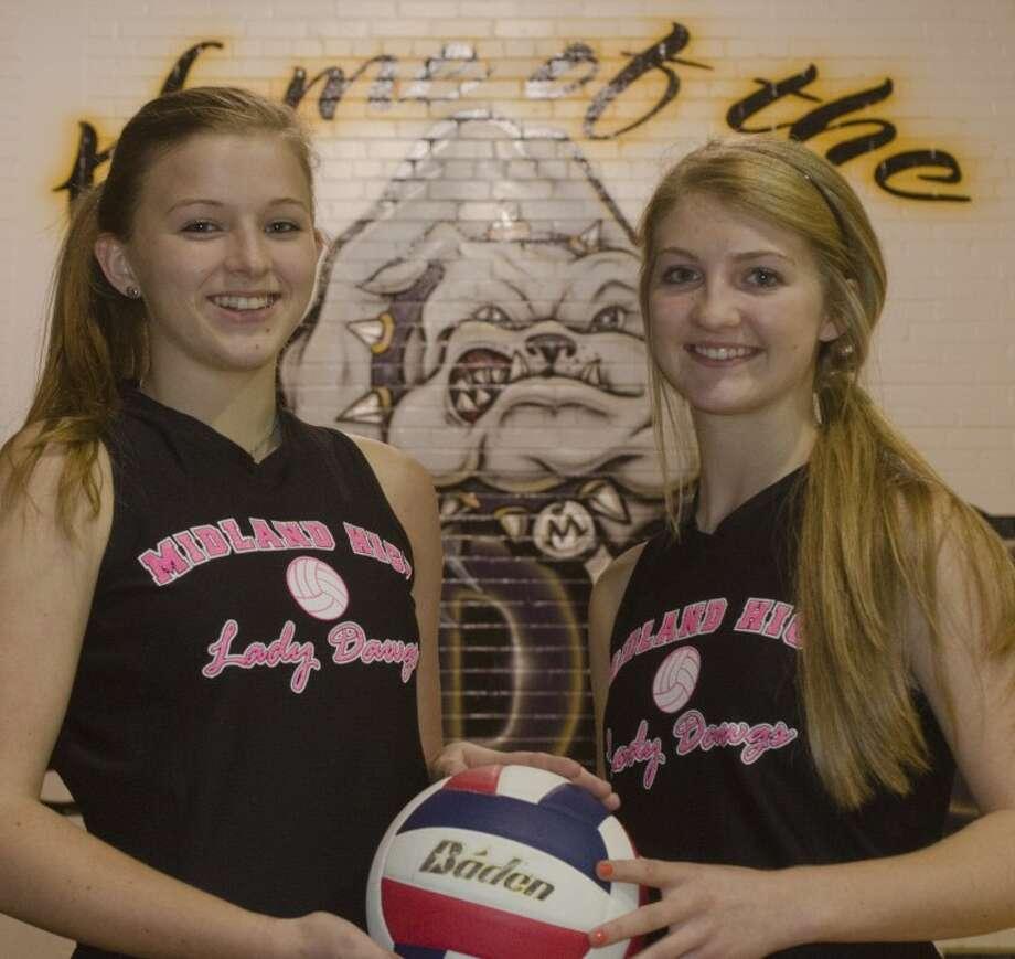 Jenna Gillean and Channing Burleson, Midland High volleyball players. Tim Fischer\Reporter-Telegram Photo: Tim Fischer