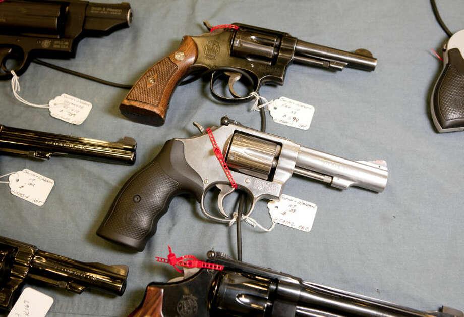 Smith & Wesson .38 caliber revolvers at the Silver Spur Gun and Blade show Saturday at Horseshoe Arena. James Durbin/Reporter-Telegram Photo: JAMES DURBIN