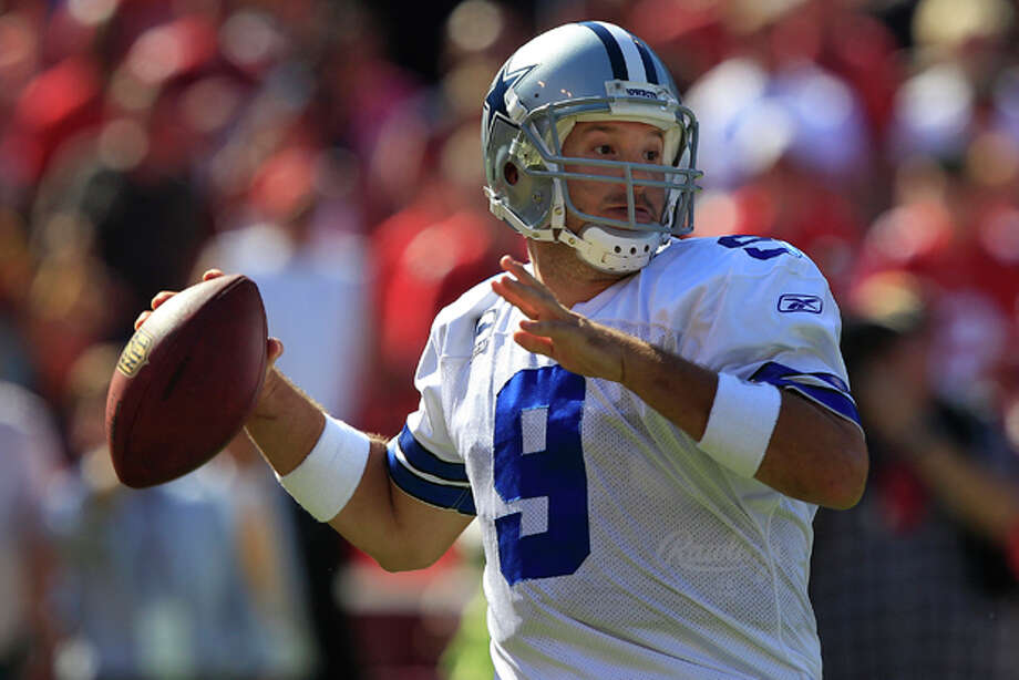 Dallas Cowboys quarterback Tony Romo (9) passes against the San Francisco 49ers in the fourth quarter of an NFL football game in San Francisco, Sunday, Sept. 18, 2011. The Cowboys won 27-24 in overtime. (AP Photo/Marcio Jose Sanchez) Photo: Marcio Jose Sanchez / AP