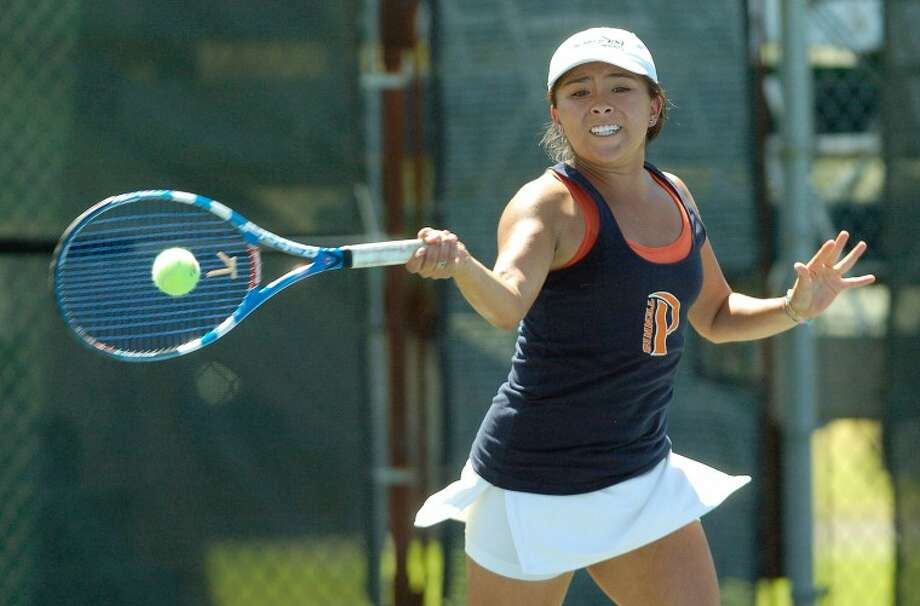 Pepperdine's Alejandra Granillo returns the ball during a singles match against Tulsa's Anastasia Erofeeva, Saturday at the Racquet Club Collegiate Invitational. Cindeka Nealy/Reporter-Telegram Photo: Cindeka Nealy