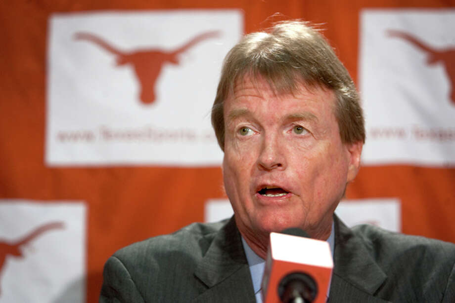 FILE - In this June 15, 2010, file photo, University of Texas president William Powers Jr. speaks during a news conference in Austin, Texas. Powers says creating stability is the top priority for the Big 12 and suggested Texas is open to a new revenue-sharing model. Texas gets a larger share of the league's media revenue from television contracts than some of the other Big 12 members. It also has own Longhorn Network in a deal with ESPN. (AP Photo/Austin American-Statesman, Laura Skelding, File) MAGS OUT, NO SALES, TV OUT, INTERNET USE AP MEMBERS ONLY Photo: Laura Skelding / AP2010