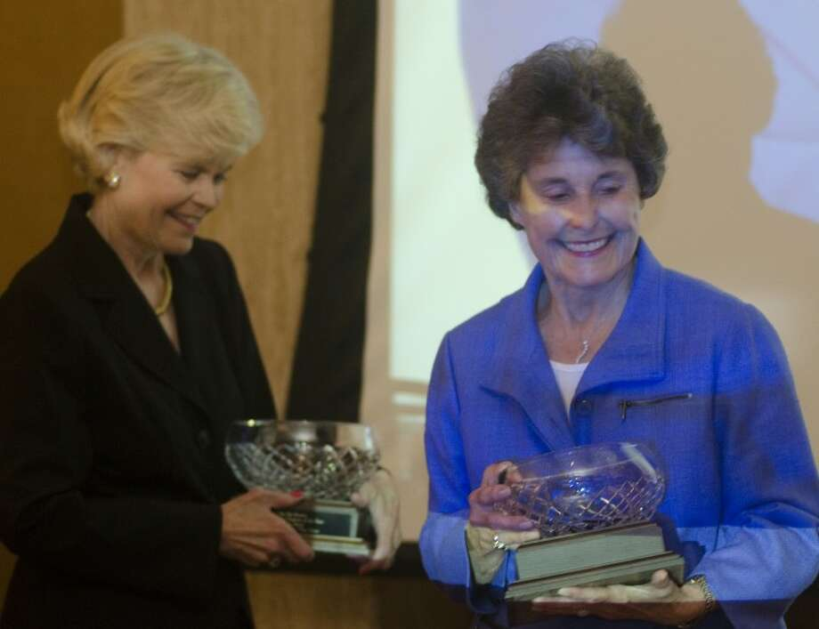 Nancy Anguish and Suzy Boldrick are honored as they 2011 Judge Pat Baskin Family Volunteers of the Year for their work at the Aphasia Center of West Texas Tuesday at the Beacon Awards luncheon. Photo by Tim Fischer/Midland Reporter-Telegram Photo: Tim Fischer