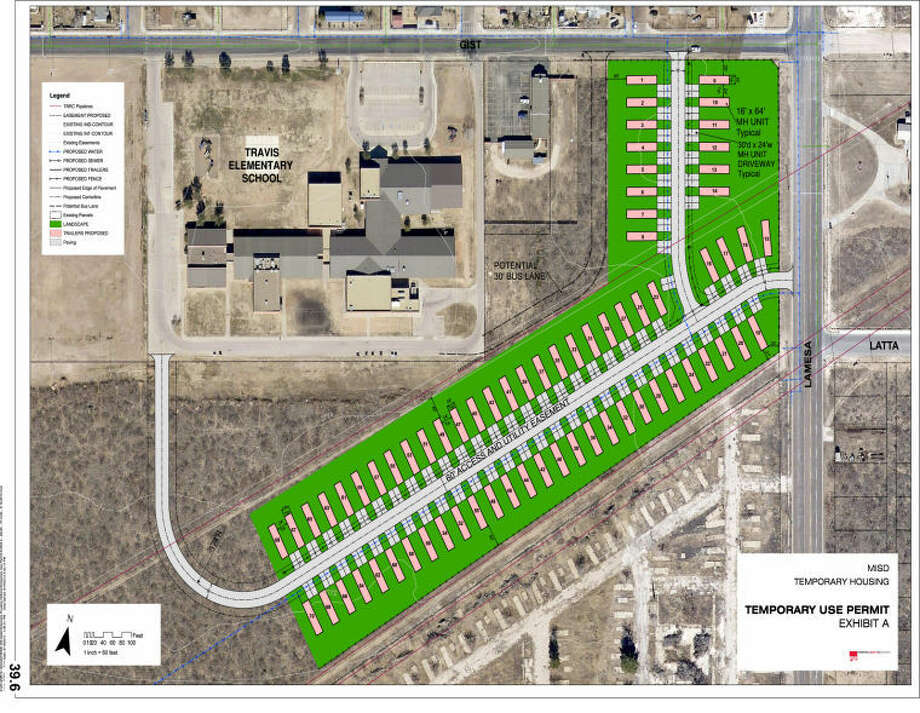 Midland ISD trustees will create a 70-unit manufactured home complex at in the southwest corner of Lamesa Road and Gist Avenue on 38.5-acres of district owned property. The temporary housing site is expected to alleviate housing for newly hired teachers. The Midland City Council approved a one year temporary-use permit for land use July 9. Image provided Photo: MISD