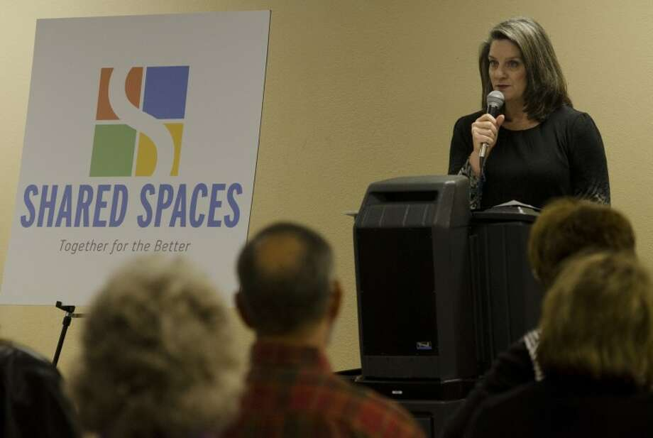 Cindy Benson, treasurer for Midland Shared Spaces, talks about the idea and start of Shared Spaces. Tim Fischer\Reporter-Telegram Photo: Tim Fischer