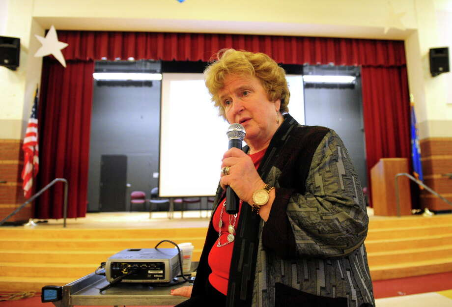 Superintendent of Schools Fran Rabinowitz speaks to parents about the proposed school budget during a Board of Education forum held Cesar Batalla School in Bridgeport, Conn., on Wednesday Mar. 23, 2016. Photo: Christian Abraham / Hearst Connecticut Media / Connecticut Post