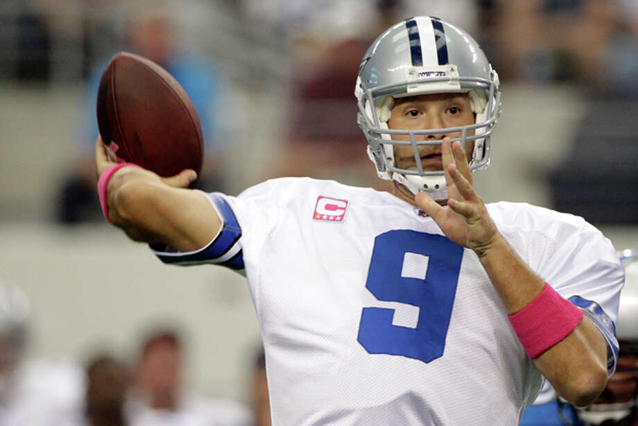 Dallas Cowboys quarterback Tony Romo passes the ball against the Detroit Lions during the first quarter of an NFL football game between the Detroit Lions and Dallas Cowboys Sunday, Oct. 2, 2011, in Arlington, Texas. (AP Photo/Tony Gutierrez) Photo: Tony Gutierrez / AP