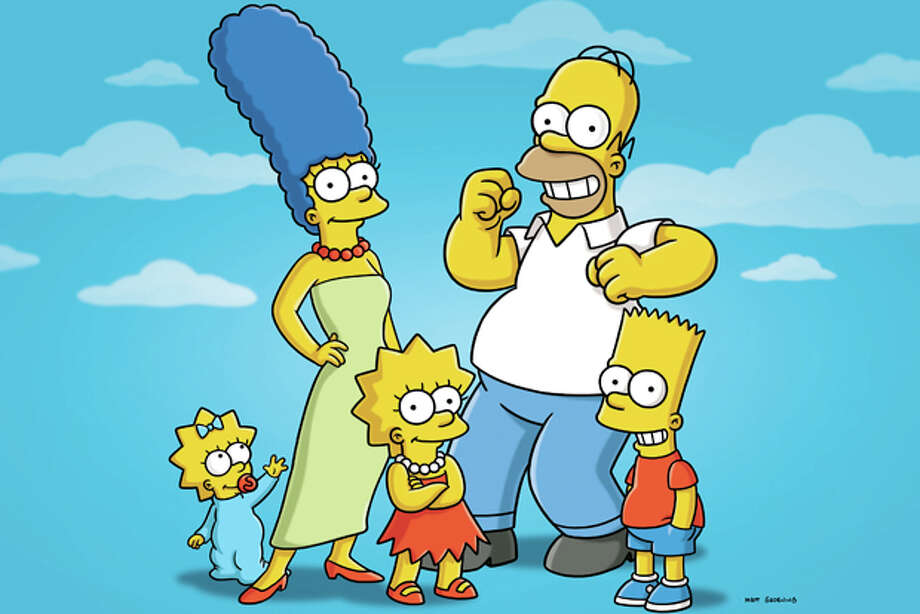 "FILE - In this undated publicity photo released by Fox, characters from the animated series, ""The Simpsons,"" from left, Maggie, Marge, Lisa, Homer and Bart, are shown. The show's producer said Tuesday, Oct. 4, 2011, that the show can't continue under its current financial model. That follows a report that big pay cuts are being sought for the actors who provide voices for Homer, Marge and Bart Simpson and the other characters. (AP Photo/Fox) Photo: Anonymous / © 2010 FOX BROADCASTING"