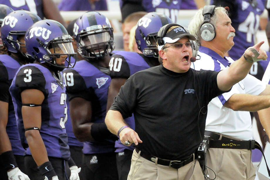 TCU coach Gary Patterson shouts during the fourth quarter against Louisiana-Monroe in an NCAA College football game in Fort Worth, Texas, Saturday, September 17, 2011. (AP Photo/Fort Worth Star-Telegram, Max Faulkner) Photo: Max Faulkner / Fort Worth Star-Telegram