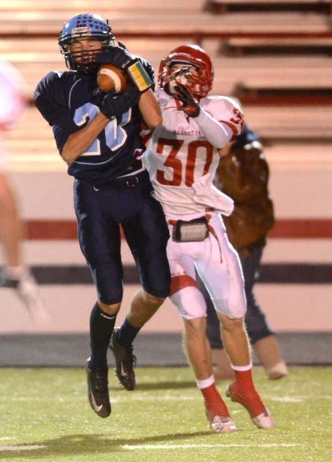Greenwood reciever Mason Fraley catches a pass against Perryton during the second half of play in the Area Playoff Friday at Greg Sherwood Memorial Bulldog Stadium in Plainview. James Durbin/Reporter-Telegram Photo: JAMES DURBIN