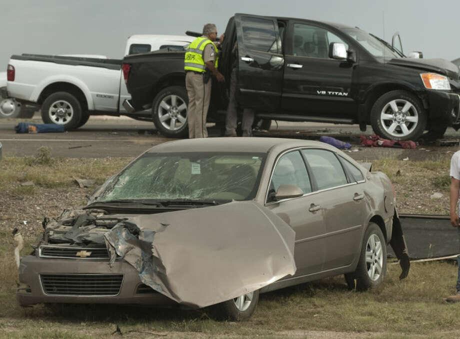 Five automobiles were involved in an accident Friday evening on west I-20 near 1788. Tim Fischer\Reporter-Telegram Photo: Tim Fischer
