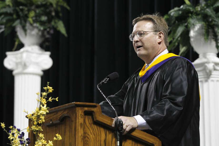 Dr. Ryder Warren, MISD Superintendent, speaks during the Midland High graduation ceremony Saturday at Chaparral Center. James Durbin/Reporter-Telegram Photo: JAMES DURBIN