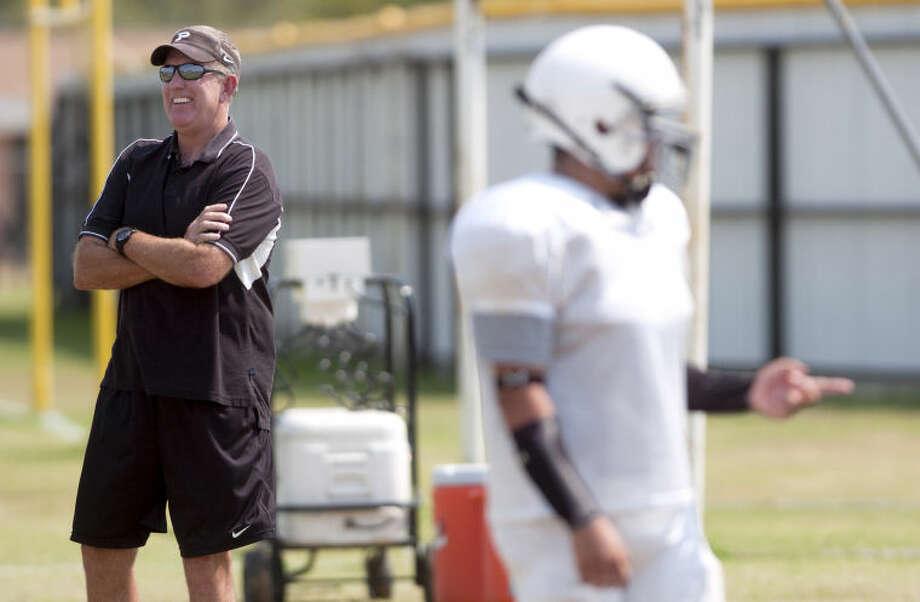 Permian coach Blake Feldt looks on during team practice Monday at Permian. James Durbin/Reporter-Telegram Photo: JAMES DURBIN