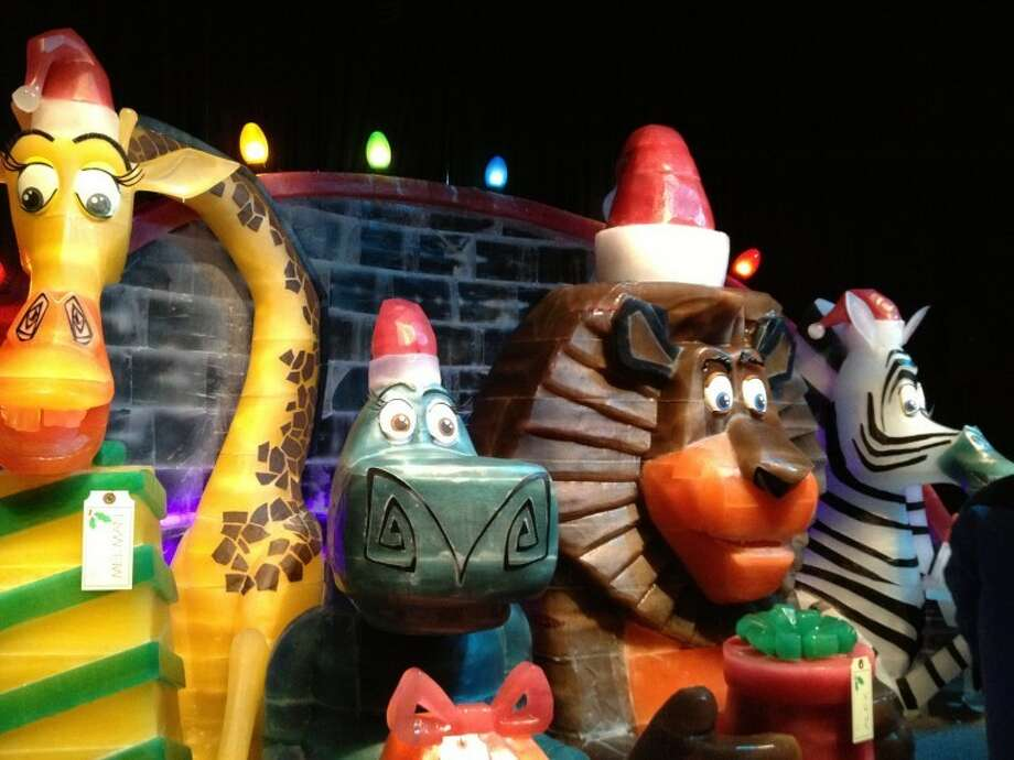 "Characters from ""Madagascar"" are featured in the Gaylord Texan's ICE! exhibit. Photo: Audrie Palmer"