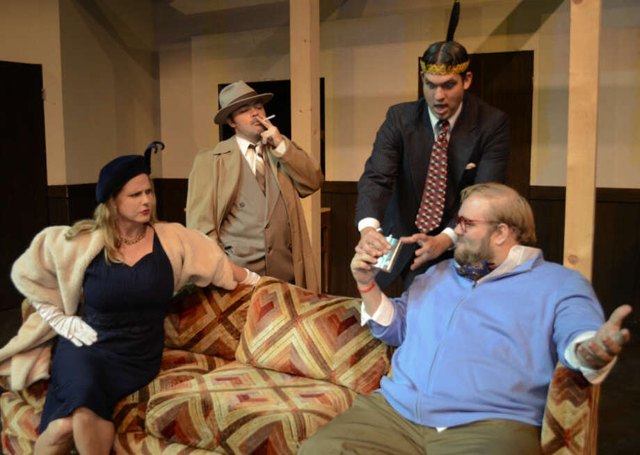 Jessica Nsek as Tara Dillaise is upset while Cody Tumlin playing Harry Monday PI watches as David Curtis as Humphrey tries to take away a flask from Daniel Collins as Larramore in MCT's production of 3 Murders. Tim Fischer\Reporter-Telegram Photo: Tim Fischer