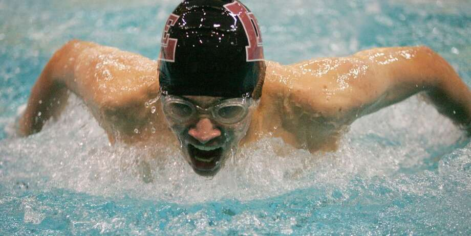 Midland Lee's Jared Barrandey competes in the Boys 100-yard Butterfly, Saturday during Double Dual a swim meet at COM Aquatics. Cindeka Nealy/Reporter-Telegram Photo: Cindeka Nealy