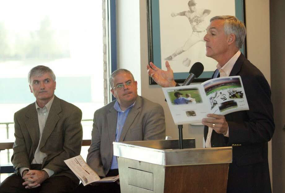 RockHounds General Manager Monty Hoppel, from left, and Midland City Manager Courtney Sharp listen as Mayor Wes Perry talks about the economic impact the Scharbauer Sports Complex has had on the city Tuesday during a press conference at the CitiBank Ballpark Diamond Club. Cindeka Nealy/Reporter-Telegram Photo: Cindeka Nealy