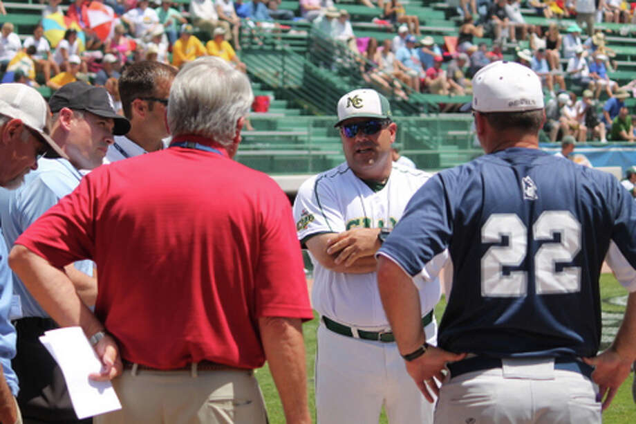 Midland College coach David Coleman discusses the ground rules before Saturday's game at Sam Sulpizo Field in Grand Junction, Colo. Buddy Brown/Special to the MRT Photo: Picasa