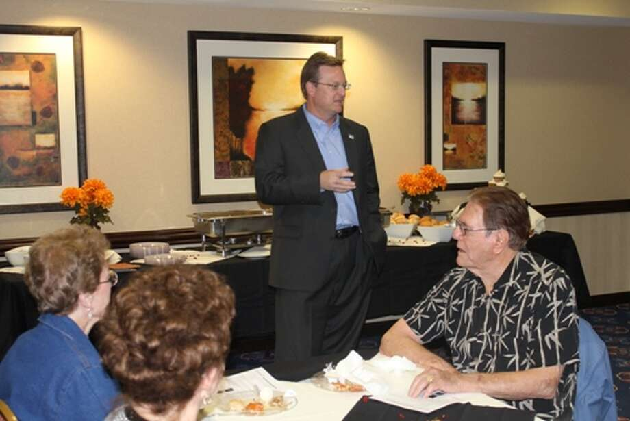 Midland ISD Superintendent Ryder Warren speaks with members of the Permian Basin Restaurant Association during their quarterly meeting Tuesday at the Residence Inn Marriott. Warren discussed the district's current state and why a bond initiative will be needed to offer students the best academic opportunities.