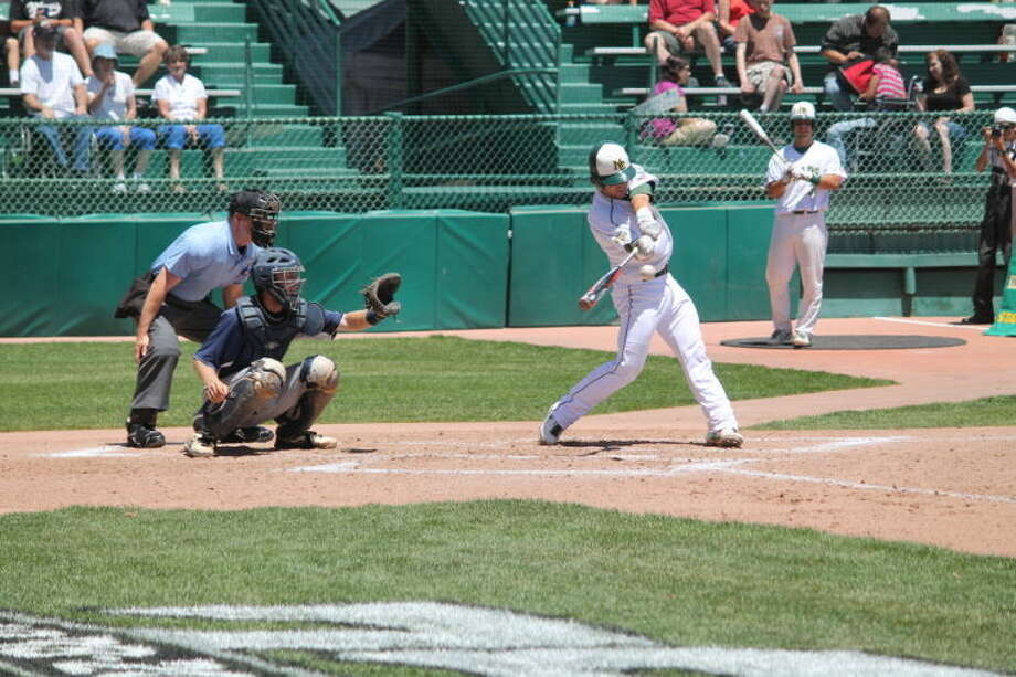 Photo: Midland College's Hunter Redman Gets A Base Hit Saturday During The Chaparrals 12-2 Victory Against Kaskaskia College (Ill.) At The Juco World Series At Suplizio Field In Grand Junction, Colo. Photo By Buddy Brown.