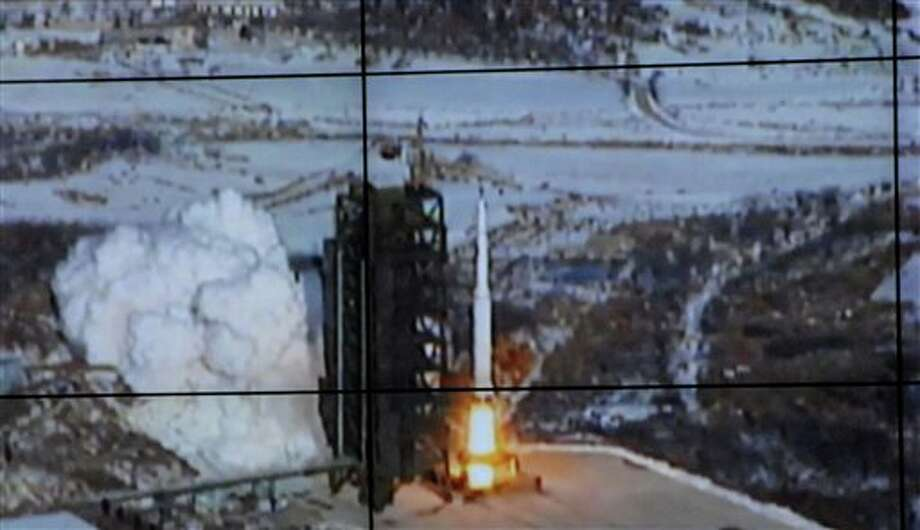 In this monitor screen image taken and released by the Korean Central News Agency and distributed in Tokyo by the Korea News Service, the Unha-3 rocket lifts off from a launch site on the west coast, in the village of Tongchang-ri, about 56 kilometers (35 miles) from the Chinese border city of Dandong, North Korea, Wednesday, Dec. 12, 2012. North Korea successfully fired a long-range rocket on Wednesday. (AP Photo/Korea Central News Agency via Korea News Service) JAPAN OUT UNTIL 14 DAYS AFTER THE DAY OF TRANSMISSION / KCNA via KNS