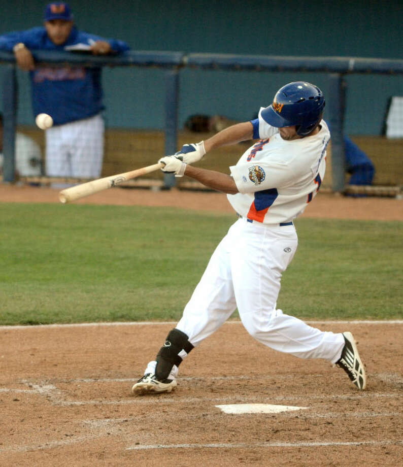 RockHounds' Jake Goebbert hits against San Antonio Missions Friday at Citibank Ballpark. James Durbin/Reporter-Telegram Photo: JAMES DURBIN