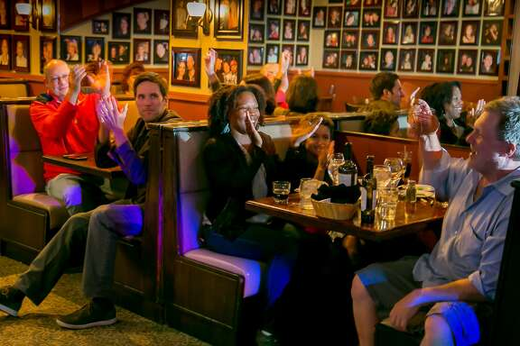 Karaoke night at Trancas Steakhouse in Napa, Calif., is seen on May 6th, 2016.