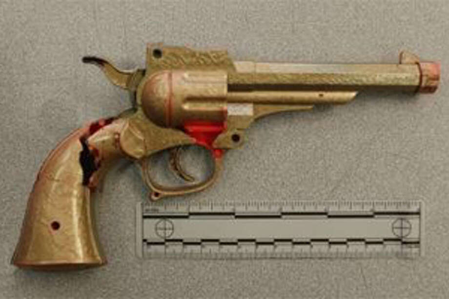 Police say they shot a costumed man when he pulled this replica gun from his waistband. Photo: San Jose Police Department
