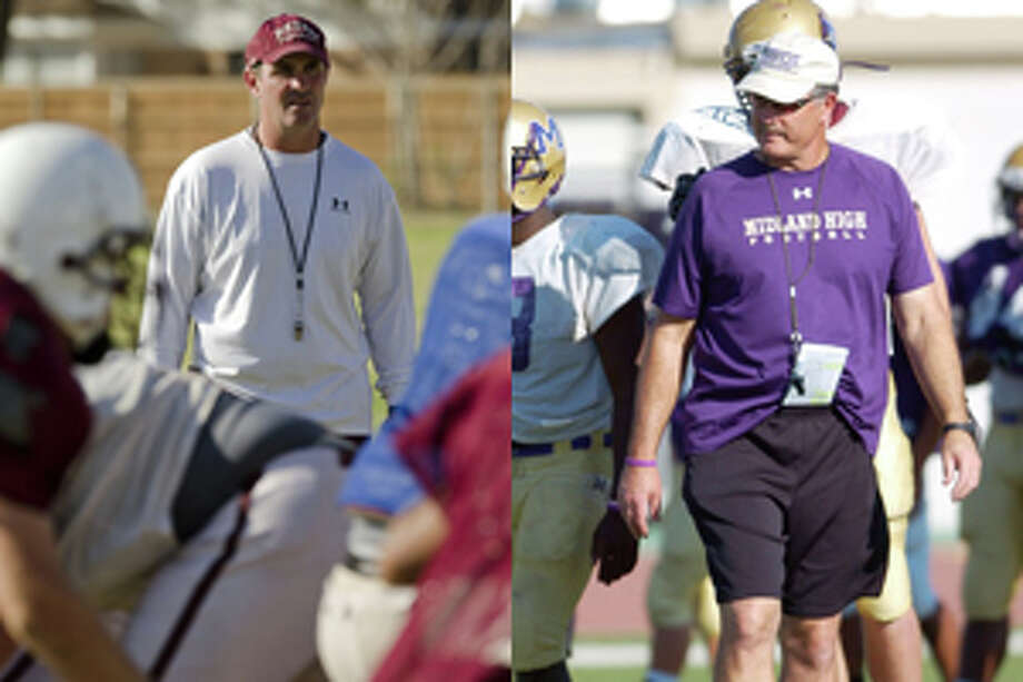 Lee football coach James Morton and Midland High football coach Craig Yenzer square off Friday at Grande Communications Stadium in their respective teams' annual crosstown rivalry game. Photo: MRT Staff Photo Composite