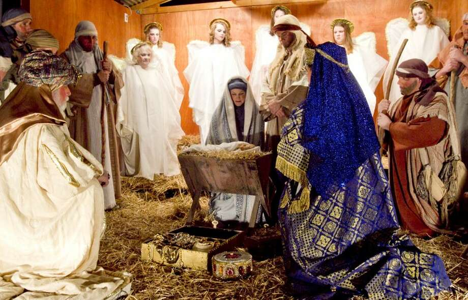 First Baptist Church presented a live nativity scene Wednesday outside the church on the corner of Cuthbert Ave. and N Street. James Durbin/Reporter-Telegram Photo: JAMES DURBIN