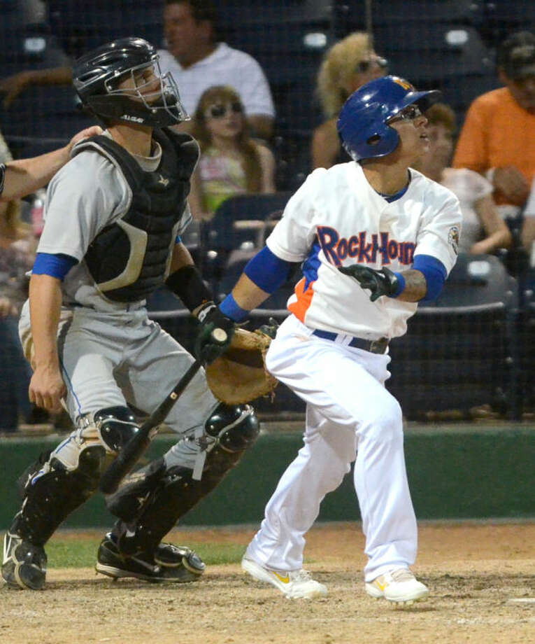 Rockhounds' Darwin Perez puts the ball in play against the Tulsa Drillers Thursday at Citibank Ballpark. James Durbin/Reporter-Telegram Photo: JAMES DURBIN