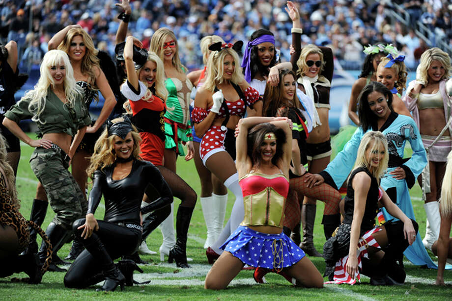Tennessee Titans cheerleaders perform in the second quarter of an NFL football game on Sunday, Oct. 30, 2011, in Nashville, Tenn. (AP Photo/Frederick Breedon) Photo: Frederick Breedon / FR159542 AP