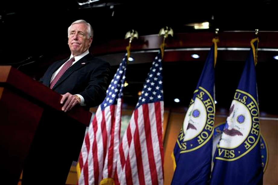 House Minority Whip Rep. Steny Hoyer of Md., pauses during a news conference on Capitol Hill in Washington, Thursday, Dec. 27, 2012, where he urged House Republicans to end the pro forma session and call the House back into legislative session to negotiate a solution to the fiscal cliff. (AP Photo/ Evan Vucci) Photo: Evan Vucci / AP