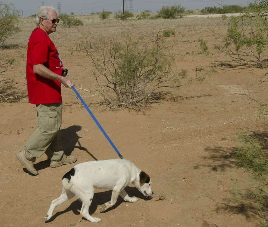Kirk French, executive director of Lone Star Sanctuary for Animals, takes Kendall for a walk on the walking path behind the SPCA. Photo by Tim Fischer/Midland Reporter-Telegram Photo: Tim Fischer