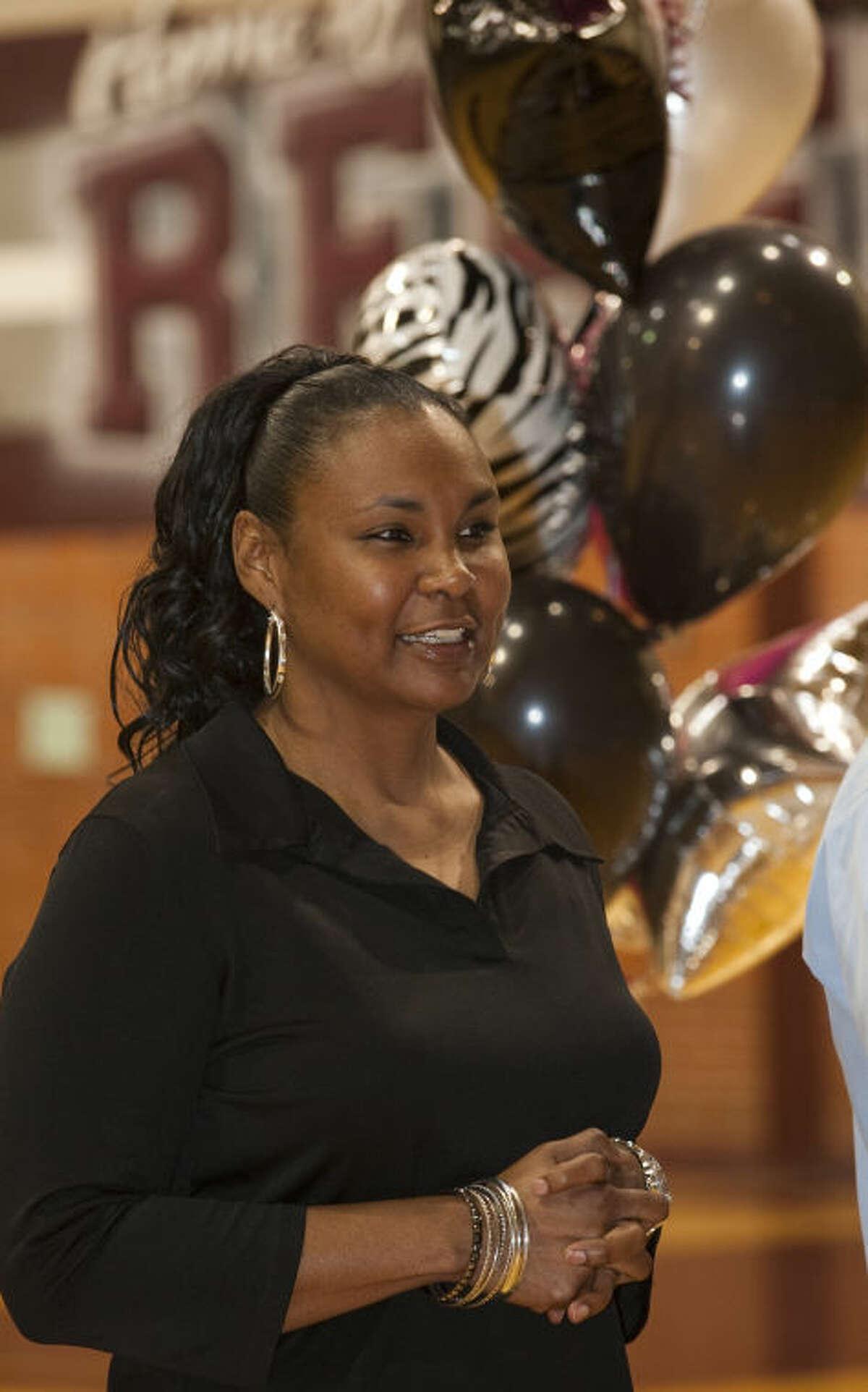 Monica Ramirez, new Lee head girls basketball coach, is introduced Thursday at LHS. Tim Fischer\Reporter-Telegram
