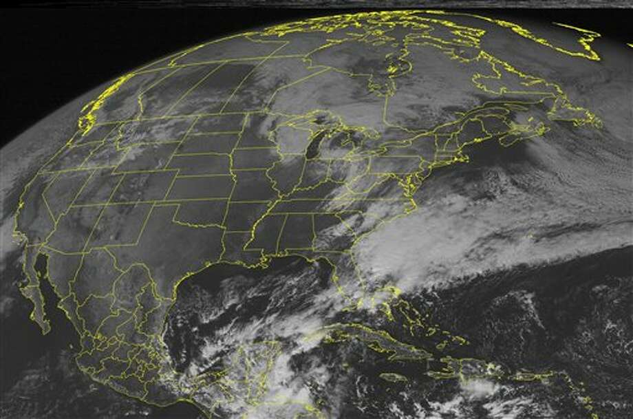 This NOAA satellite image taken Monday, October 31, 2011 at 01:45 PM EDT shows sunny skies with few clouds over Texas, but within a day that will change as an air trough to the north brings Midland it's first freezing weather of the fall on Wednesday. Photo: AP / WEATHER UNDERGROUND