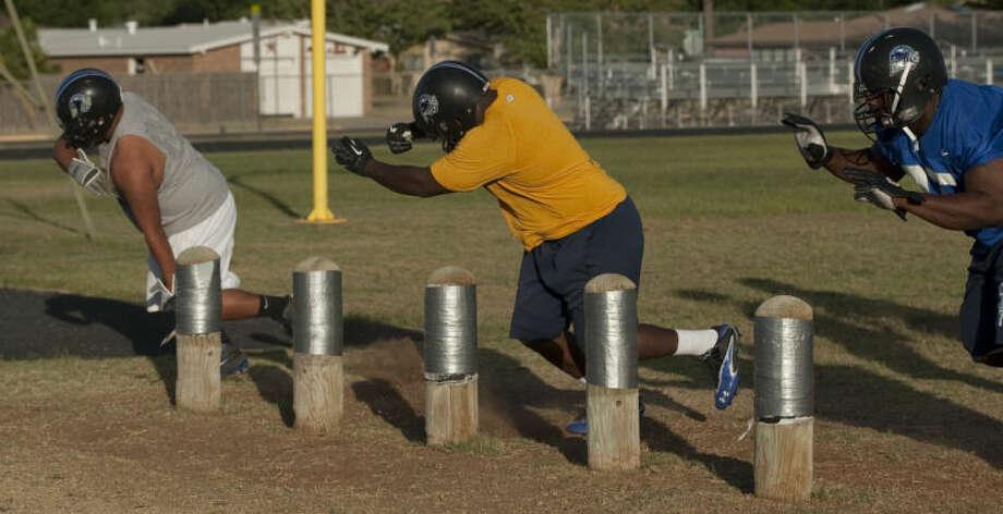 West Texas Drillers lineman runs drills Wednesday during practice. Tim Fischer\Reporter-Telegram Photo: Tim Fischer